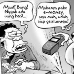 Indonesian cartoonist Mice describes how Indonesians gra the utilization of e-money on every level. Picture credits to micecartoon.co.id